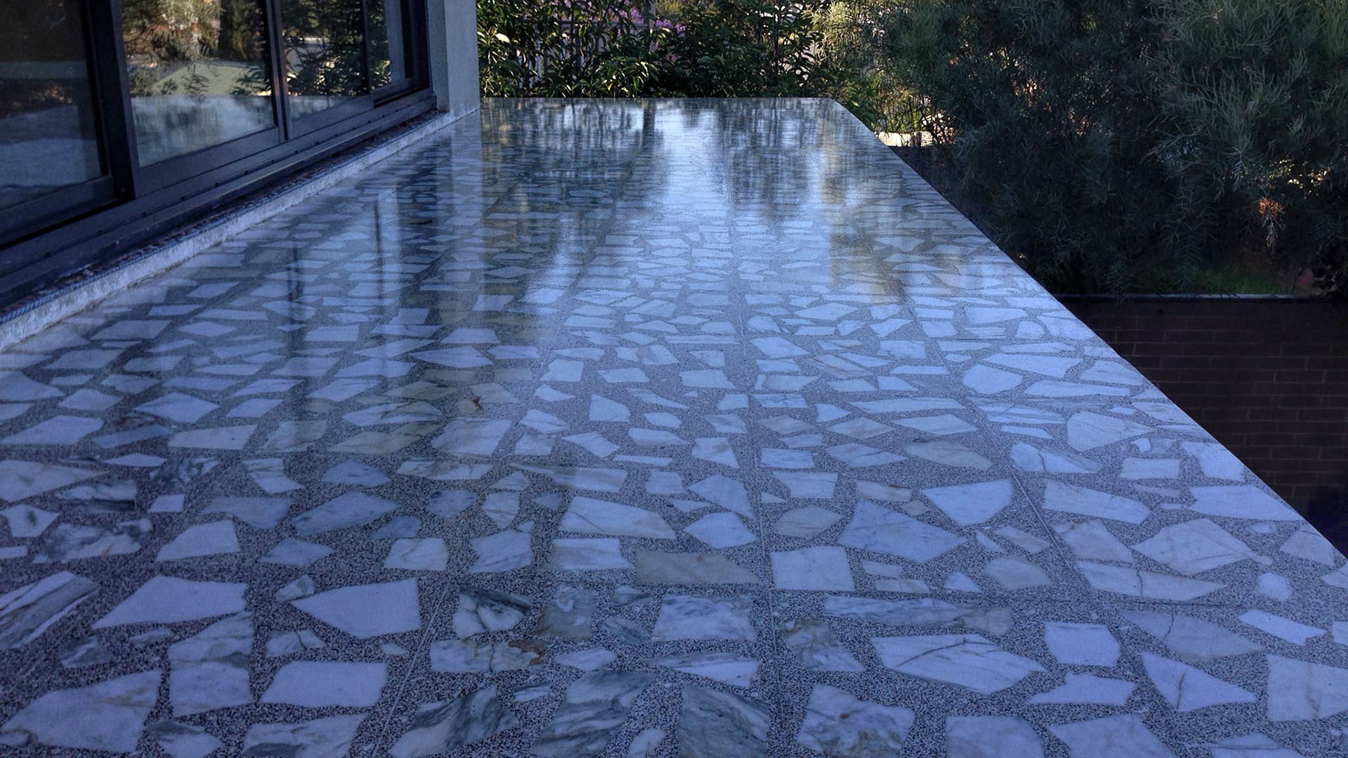polished tearazzo tiles